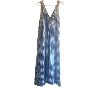 Lungo L'Arno 100% Linen Gingham Maxi Dress, M